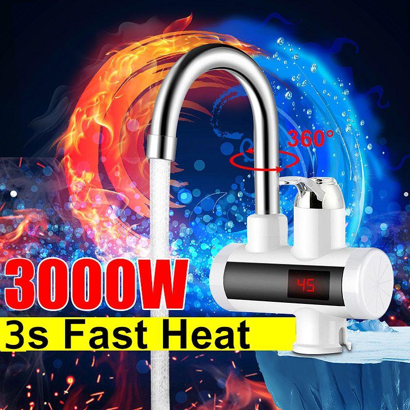 Мгновенный 3000W горячей воды кран электрический Кухня Водонагреватели Tap холодной отопления кран Проточный водонагреватель Free