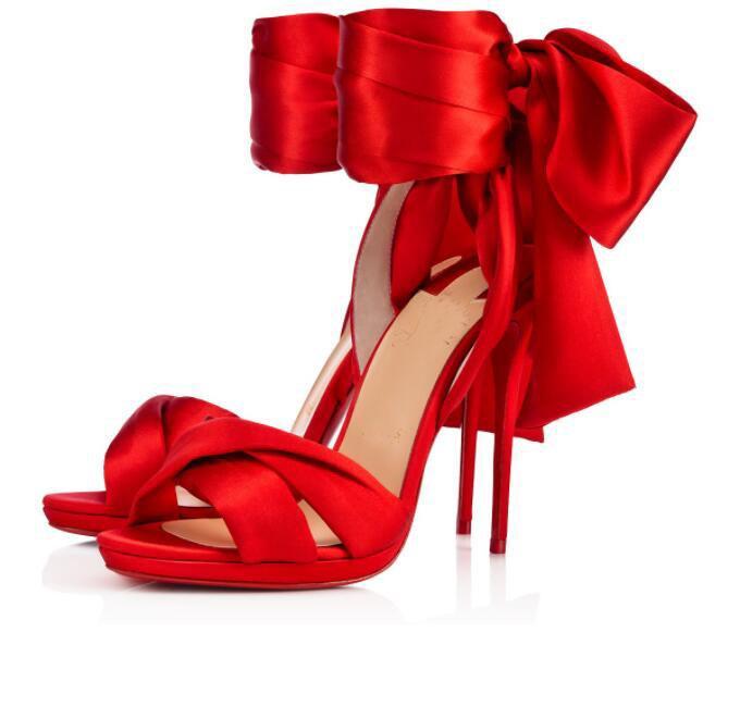 Verano rojo fondo tres franes sandalias correas de tobillo mujeres tacones altos tacones femeninos glamour damas gladiador sandalias vestido bodas de la UE 34-43, con caja