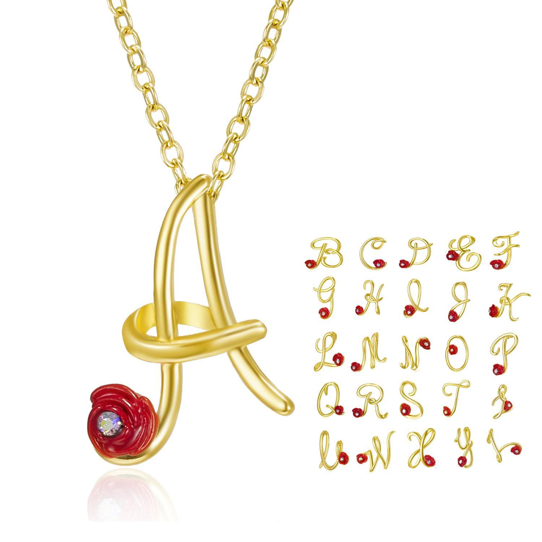 2021 جديد نمط وردة حمراء الأولية سلسلة قلادة بيان رسالة بنات الأبجدية المعلقات عشاق قلادة مجوهرات للنساء