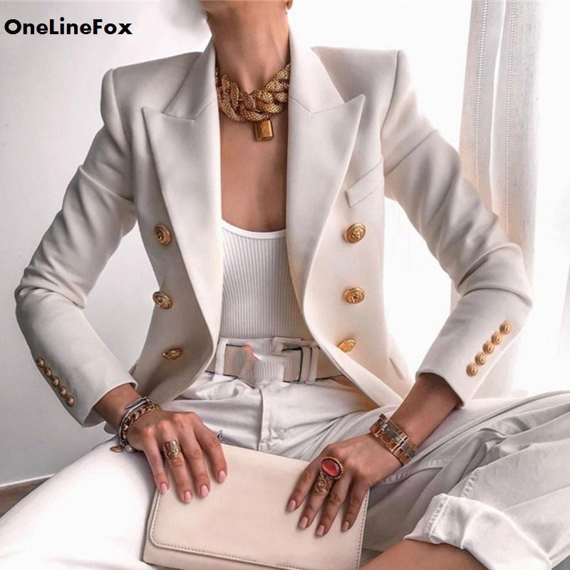 Trajes de mujer blazers onlinefox blazer mujeres 2021 otoño manga larga invierno abrigo corto de invierno oficina de trabajo elegante ropa de trabajo sólido delgado feminino Outwe