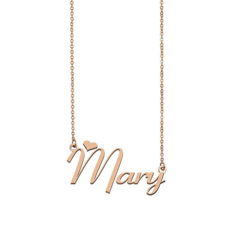 Mary Nom Collier, Collier nom personnalisé pour femmes filles Meilleurs amis anniversaire de mariage de Noël Mère Jours Cadeau