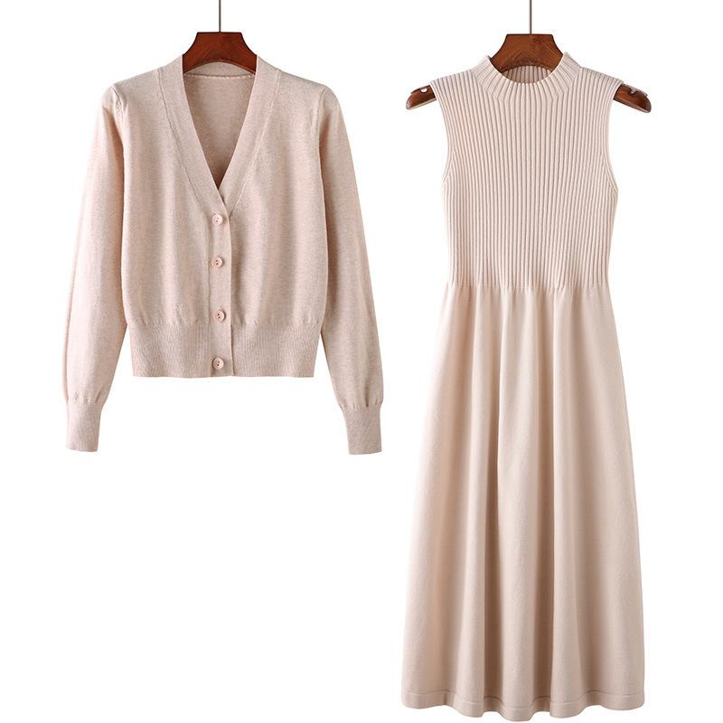 2020 Autumn weibliche Pullover Abendanzug Frauen Strick A-Line Kleid + lose Strickjacke Pullover 2pcs Kleid Anzug
