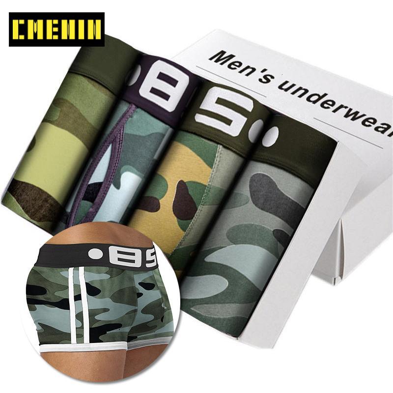 Camouflage Lot Hommes Boxer Sous-vêtements Soft Cueca Soft Cueca Sexy Slip Slip CueCa Homme Panties HIP Pochette Boxershorts Cuecas LJ201109