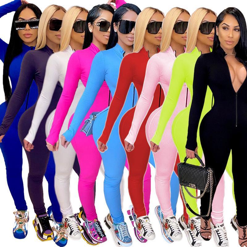 Женщины дизайнеры одежда 2020 зима сплошной цвет комбинезон вскользь спортивные трексеи костюм тонкий с длинным рукавом розовые модные oneies Rompers DHL новый