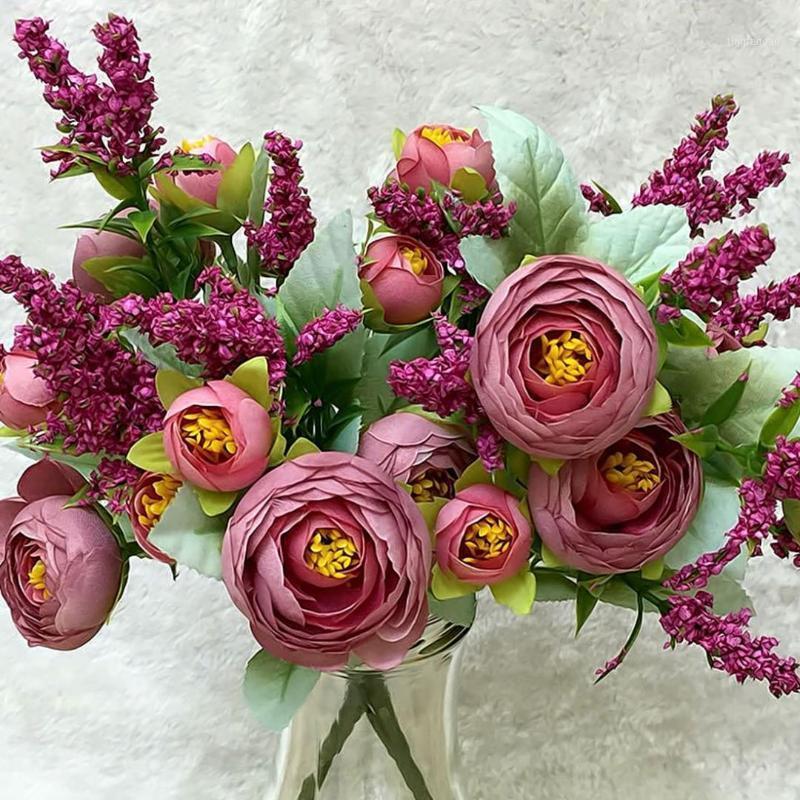 Rose 1 Bouquet 10 Köpfe Hochzeit Mini Künstliche Seide Blume Blumenstrauß Flores Braut Home Hochzeit Dekoration Gefälschte Pfingstrose Flower1