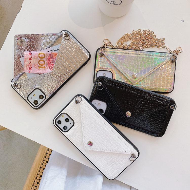 Per iPhone Cases 12 11 Pro XR 7 Luxury Phone Beause Laser Crossbody Bag Portafoglio Ultra con catena Copertura Designer Fashion Lanyard