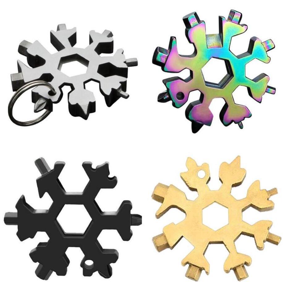18 en 1 Snowflake Multi Pocket Tool Llavero Multi Herramienta HEX Llave Destornillador Ancha Multifunción Campamento al aire libre Sobrevive Caminata Envío gratis