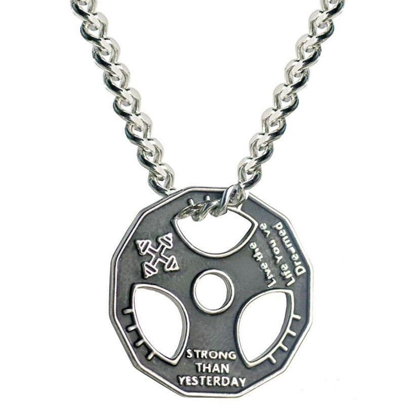 Aço inoxidável haltere cadeia colar pingente Peso Placa Barbell Colar Homens Mulheres Gym Hippie Motivação Hip Hop Jewelry