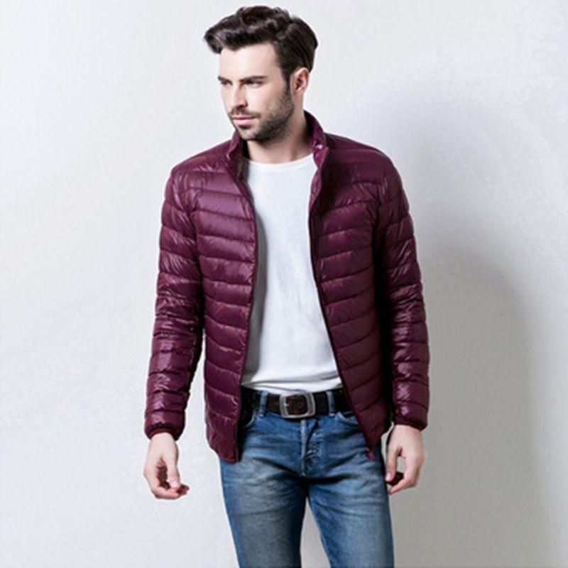 Mens Ultralight Down Jacket Casual Autumn Winter White Duck Down Windbreaker Overcoat Warm Parka Male Coat Fashion Outerwear 201022