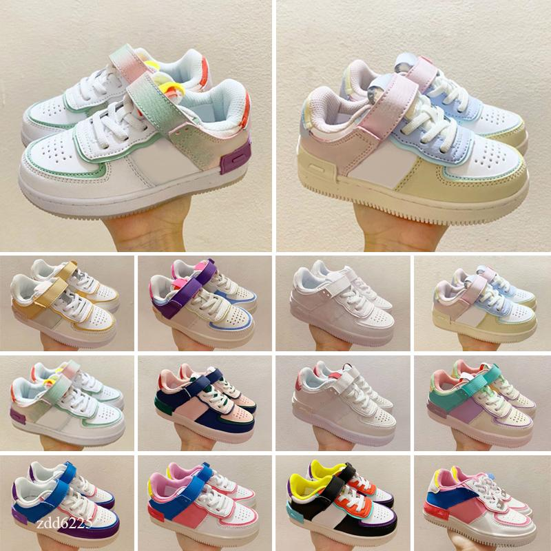 Tag Dunk Classic kids sneakers Men Women chunky dunky shadow Yellow Bear Trainers Travis scotts University Red Pine Green kids shoes