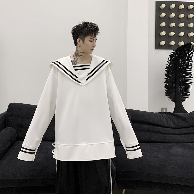Мужские повседневные рубашки мужские длинные рукава 2021 весенняя осень рубашка уличная одежда моряка воротник платье свободных тенденций Casua