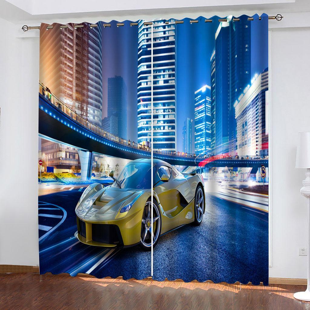 Foto de la cortina 3D Personaliza el tamaño Bulneando las cortinas de la ventana del paisaje urbano para la sala de estar del dormitorio Decoración de la casa moderna