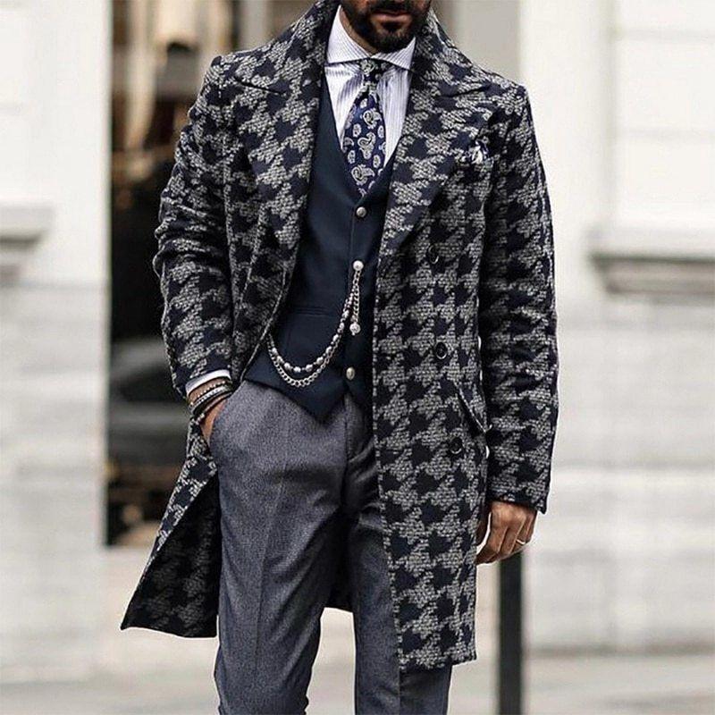 Erkekler Uzun Yün Rüzgar Casu Casual Kruvaze Mens Yün Palto Kış Houndstooth Ceket Erkekler Trençkot 201207