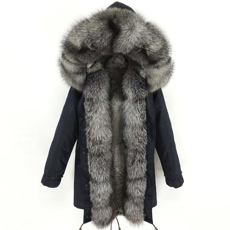 Lavelache Yeni Kış Gerçek Fox Kürk Uzun Parka Erkekler Gerçek Tavşan Kürk Astar Doğal Kürk Yaka Kapşonlu Kalın Sıcak Erkek Ceket 201204