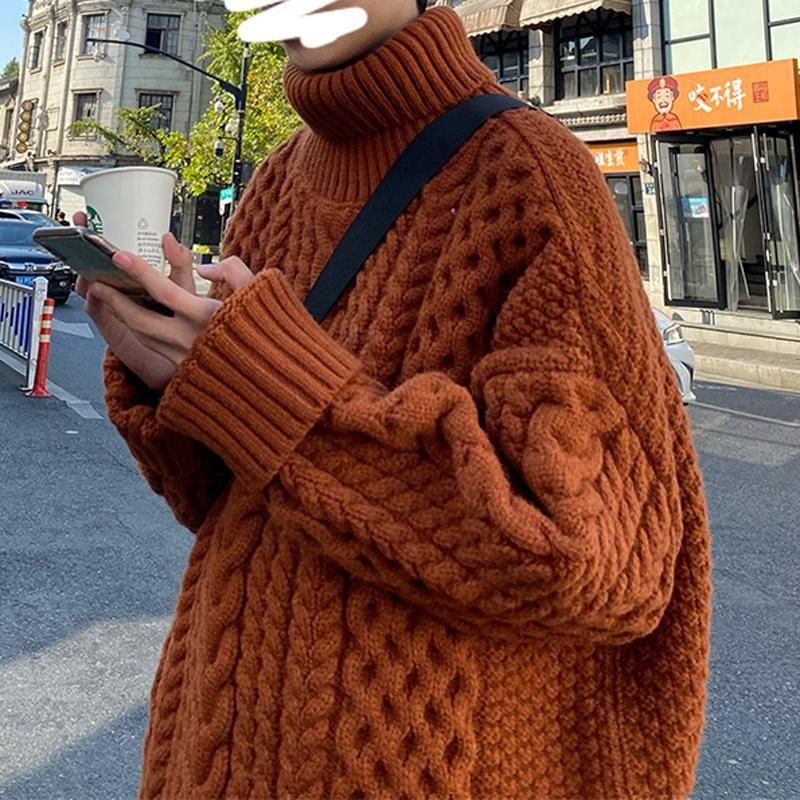 Casual homem solto suéteres coreano moda pulôver enverbecível de malha gola alta homem suéteres puxar hiver homens roupas db60my