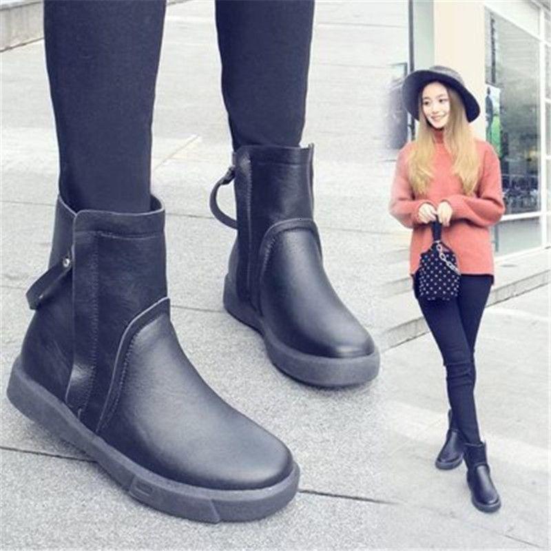 2021 Yeni Mod Kış Ayakkabı Morno kadın Deri Rahat ve Kadınların Rahat ve Rahat Fermuar Siyah Kar Brows Qnhw