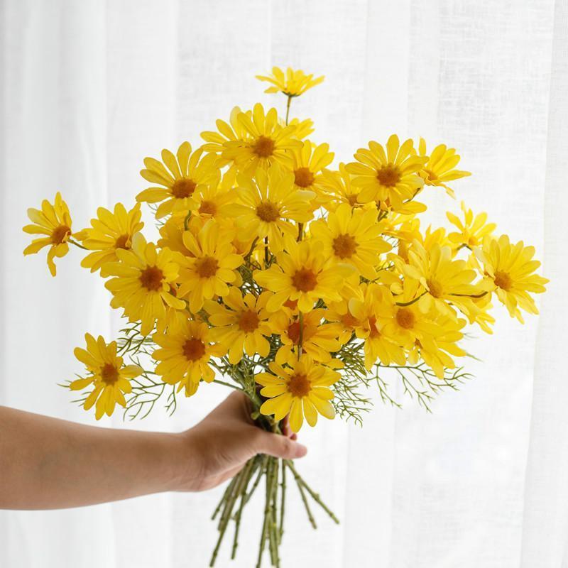 Daisy Flor Artificial para Bouquet do casamento do jardim Decor DIY nupcial flores artificiais decorativa Sala Tabela Decor