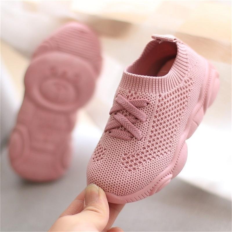 JUSTSL Kids Antislip Soft Bottom Baby Sneaker Casual Flat Sneakers Children size Girls Boys Sports Shoes Y201028