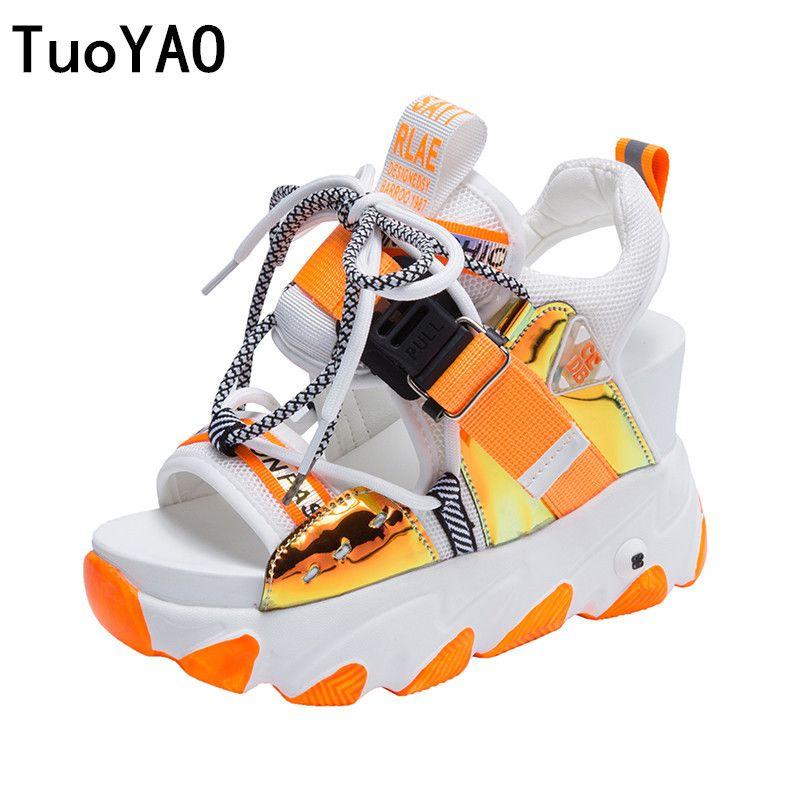 Kadınlar Chunky Platformu Sandalet Tasarımcılar Yeni Marka Yaz Plaj Günlük Ayakkabılar Kadın Lace Up takozları 9CM Moda Sandal Bayanlar 201021