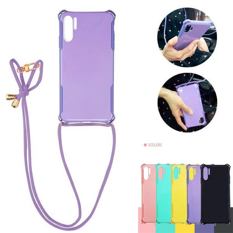 Chain Phone Case Huawei P20 P30 Collier corde Longe cou pour l'iPhone 11 Pro SE2020 XR X 8 7 6 6S