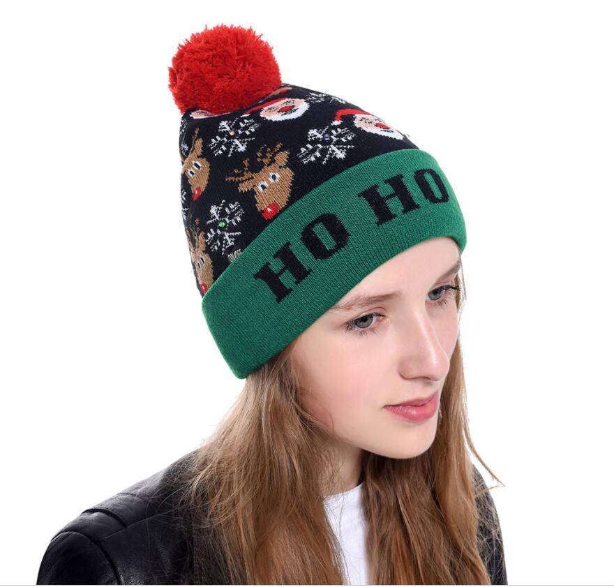 LED Işık Örgü Noel Şapka Unisex Yetişkin Çocuk Yılbaşı Noel ışık Yanıp sönen Örgü Crochet Şapka Parti Hediye 15 Stil Ücretsiz Kargo