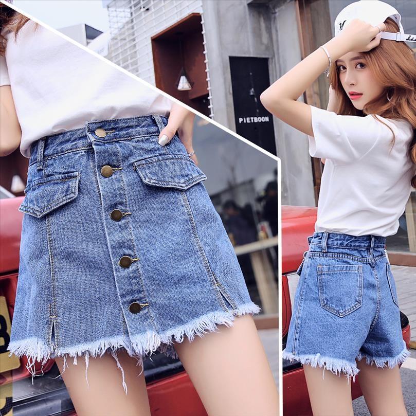 Pantalones cortos de falda mujer denim corta 2019 moda verano desgaste faldas de cintura alta jeans corto botón hembra s xxl pantalones jean