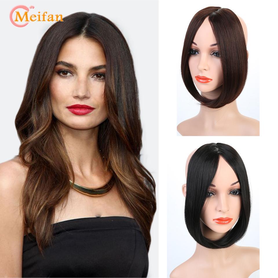 Meifan ön tarafta klip saçak saç uzatma gerçek doğal görünmez sentetik uzun patlama aksesuarları