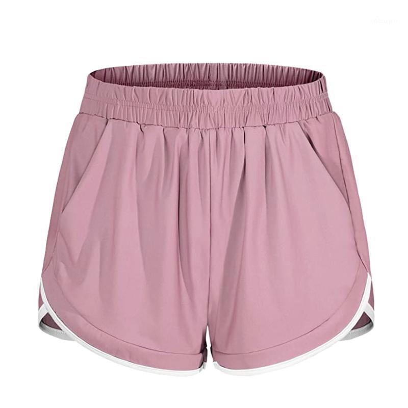 Spor Giyim Kadın Koşu Şort Elastik Bel Rahat Spor Atletik Egzersiz Yan Cep Ile Jogging Tenis Yoga1