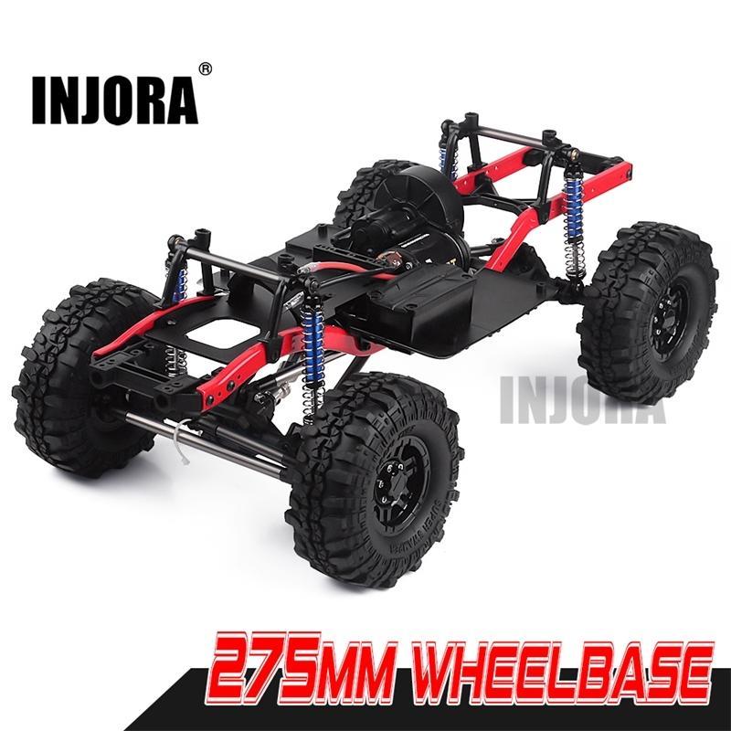 Injora RC-Auto 275mm Radbasis montiertes Rahmen-Chassis mit Rädern für 1/10 RC-Raupenauto SCX10 D90 TF2 MST 201104