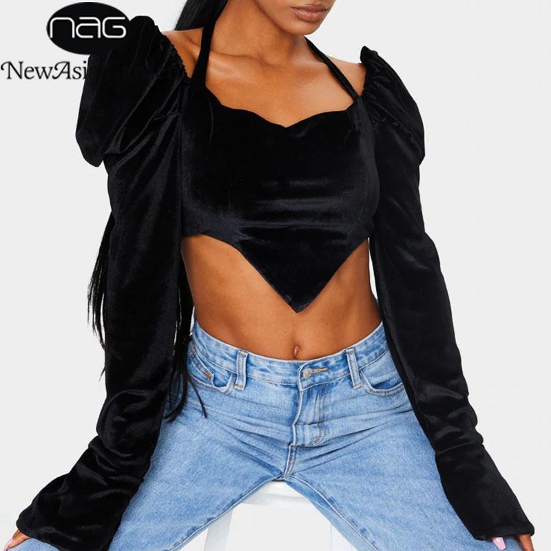 NewAsia Velour la blusa de las mujeres Negro cuadrado dulce cuello de la cremallera de la manga de soplo superior ocasional cabestro gótica Tops 2020 Ropa de moda de las señoras