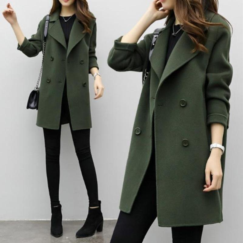 GooHojio 2020 NUEVO otoño abrigo de invierno mujeres solapa sólido solapa de doble pecho abrigos de lana suelta manga larga cálida mujeres de lana LJ201110