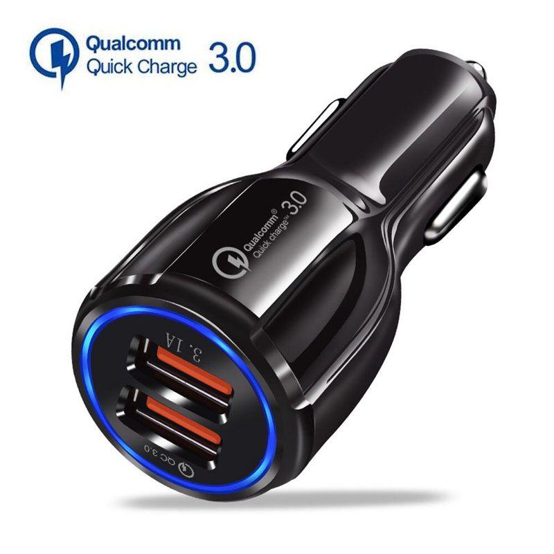QC3.0 Автомобильное зарядное устройство для мобильного телефона Dual USB Автомобильное зарядное устройство Быстрый заряд 3,0 Быстрая зарядка адаптера Автомобильный телефон USB зарядные устройства