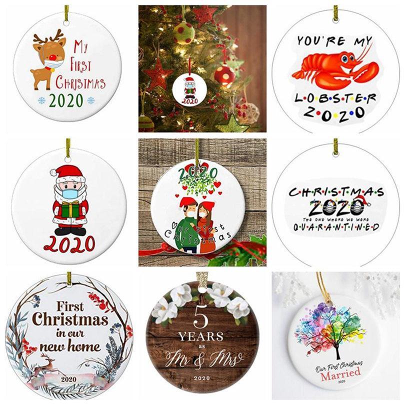 17style 2020 세라믹 크리스마스 장식품 3 인치 라운드 크리스마스 트리 펜던트 산타는 마스크 크리스마스 장식 GGA3786를 착용