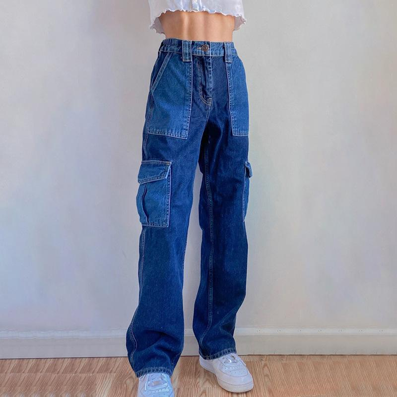 Hip Hop Baggy Jeans Vintage Elastic High Waist Patchwork Womens Distressed Jeans Pantalon Femme 2020 Aesthetic Big Pocket