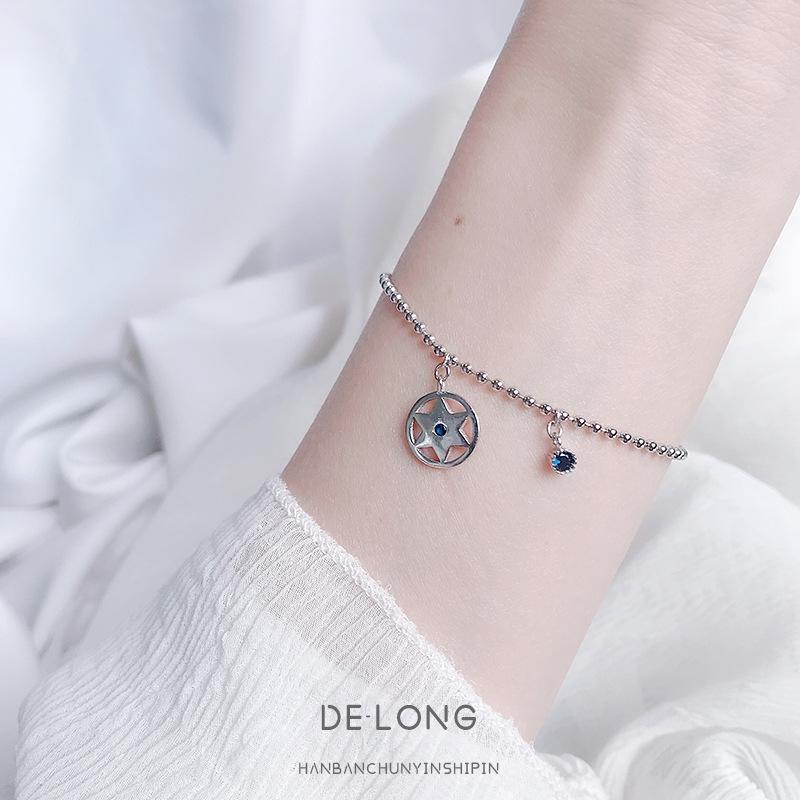 S925 Sterling Silver bussola ins versione coreana minimalista personalità Compass braccialetto stella blu mano ebreo tendenza gioielli delle donne