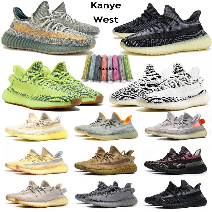 Asriel Kanye West estática Preto refective v2 Running Shoes Israfil Cinder sábio do deserto Luz Traseira Zebra Womens Mens Outdoor Trainers Tamanho 13