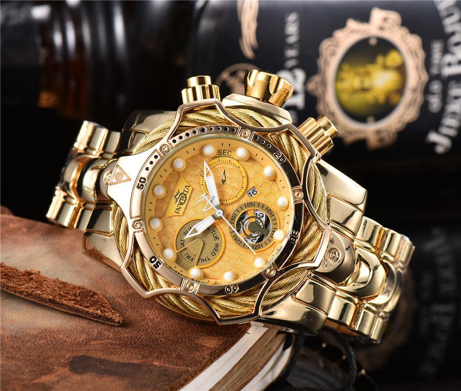 Invicta رجل كوارتز ساعة الفولاذ المقاوم للصدأ التقويم الذهب والساعات بيع مباشرة Relógio masculino