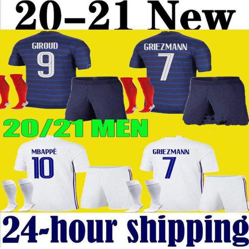 Homens Crianças France Mbappe Jerseys Criança Kits 2020 2021 Griezmann Pogba Camisas de Futebol 20 21 Pavard Kante Adulto Meninos Full Set Uniforme