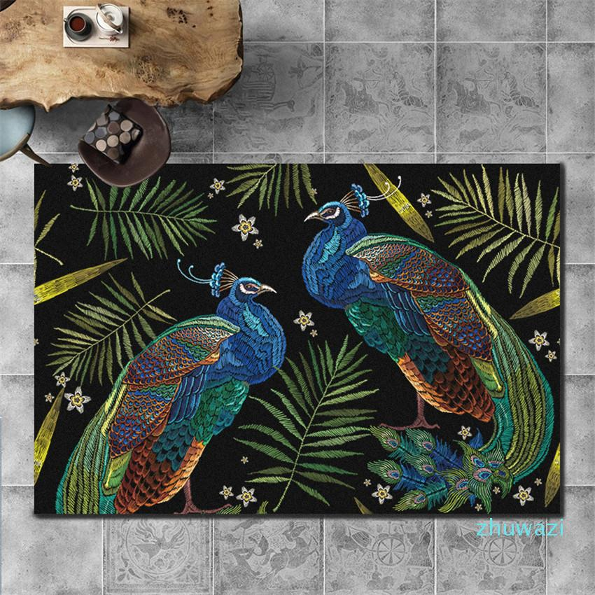 Colorful Peacock Design Carpets New European Style Animal Print Carpets New Rug Footcloth Well Room Decoration
