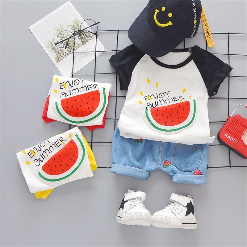 Été nouveau style bébé Filles Garçons Vêtements enfants Tissu Belle pastèque Shorts T-shirt nourrisson Enfants Costume Mode Survêtements X0923