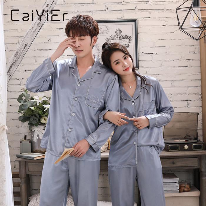 Caiyier Silk Satin Couple Pigiama Set Set Soild Embroidery Love Sleepwear Winter Manica Lunga Loungewear Donne da uomo Nightwear M-3XL