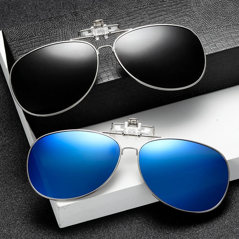 Polarized clip di occhiali da sole Lens occhiali visione notturna gialla Aviation Metail Telaio Uomo Donna Occhiali da sole con le clip unisex clip