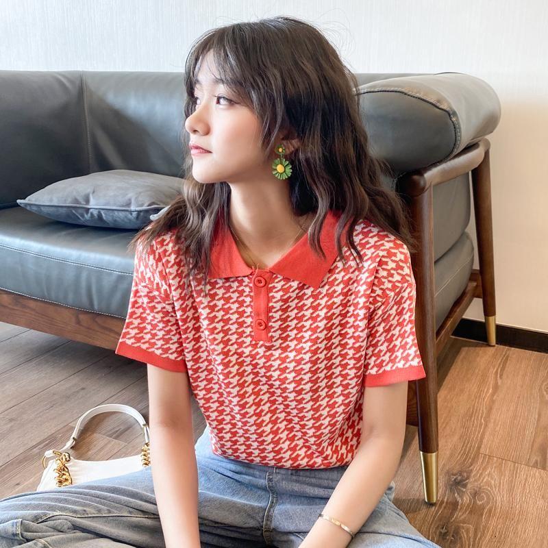 Camisetas Streetwear Punto T Camiseta Mujeres Mujeres Coreano Vierna Manga de la camiseta Cuello Camisa corta Houndstoot Down Atumn Crop Tops LRWSG