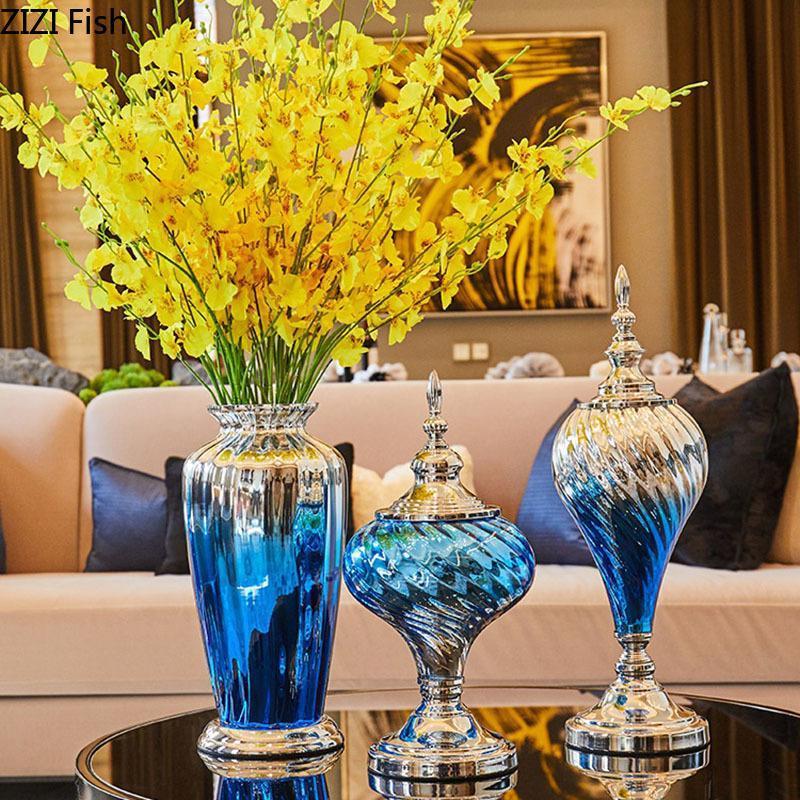 미국 레트로 딥 블루 유리 꽃병 고급스러운 공예품 장식 꽃병 책상 장식품 꽃 삽입 골동품 홈 장식
