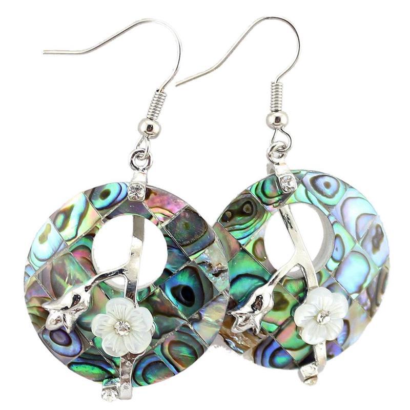 Neuseeland natürlicher abalone shell baumeln ohrringe runde hohl marquetry plum blüte blume frauen ohrring mode charme heilende schmuck