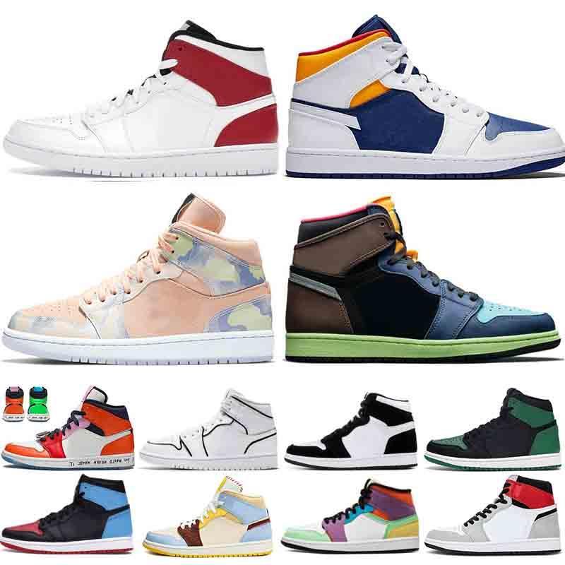 Uomini 1 1s Basketball Shoes Tie Dye Pino Verde Bred Corte Viola fumo top grigio 3 iridescenti riflettenti Mens degli addestratori delle scarpe da tennis di sport dei pattini