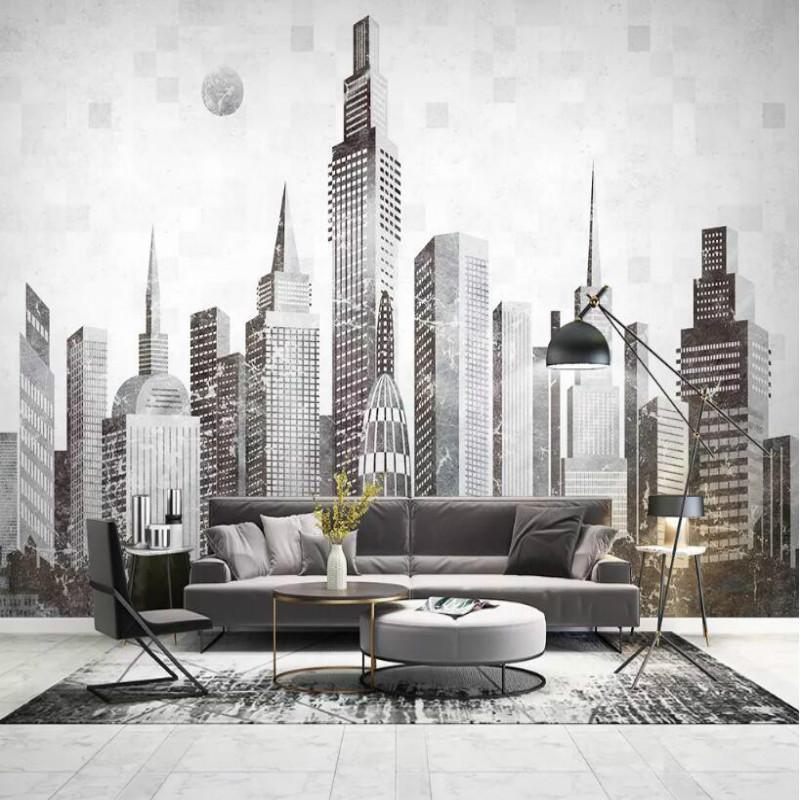 바탕 화면 현대 추상 도시 건물 3D 벽 종이 장식 그림 벽지 거실 홈 개선 부직포