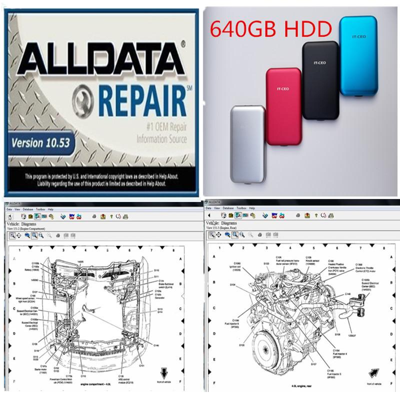 2020 high quality Alldata V10.53 auto repair soft-ware in 640GB HDD with tech support for cars and trucks USB 3.0