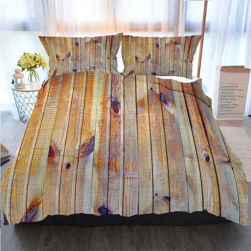 Yatak 3 Adet Nevresim Ahşap Duvar Arkaplan Yorgan Yatak Yorgan Yatak Setleri