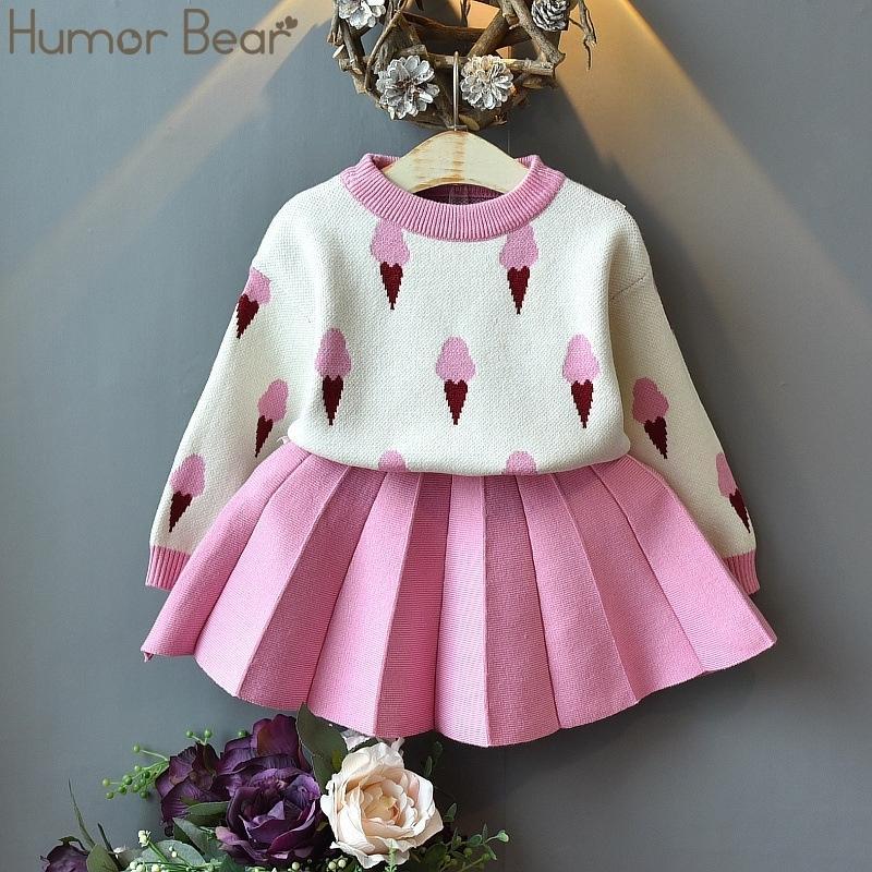 Юмор медвежон зимняя детская одежда наборы одежды рождественские детские девушки одежда костюм 2 шт. Свитер + плиссированные платье детские одежды 201126